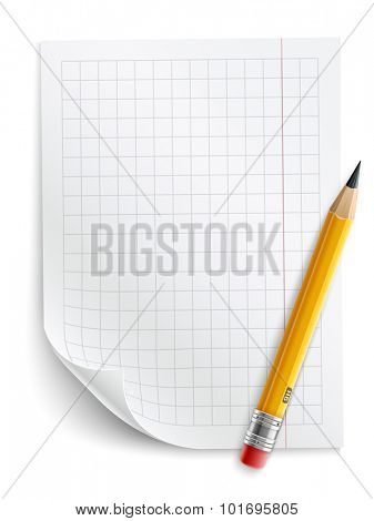 Blank sheet of paper with grid and pencil. Eps10 vector illustration. Isolated on white background