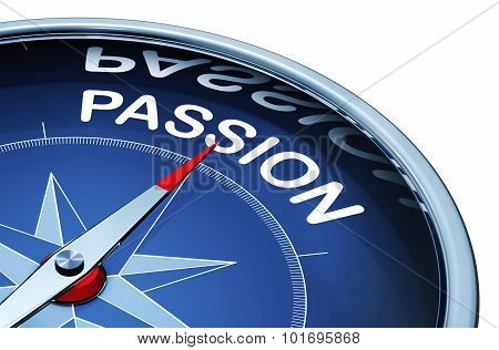 3D rendering of a compass with a passion icon poster