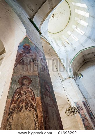 Ananuri, Georgia - July 20, 2015: Church of the Assumption at Ananuri Castle complex over Aragvi River