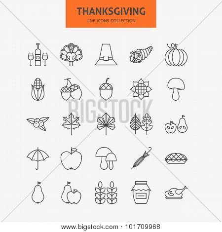 Line Thanksgiving Day Holiday Icons Big Set
