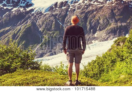Hiker in Exit Glacier, Kenai Fjords National Park, Seward, Alaska poster