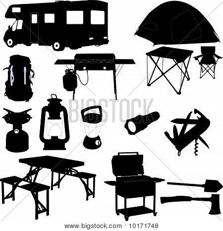 camping equipment - vector