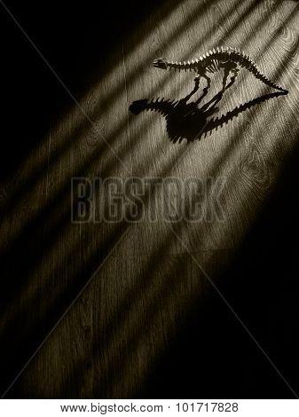 Scary Dinosaur Skeleton in dark room