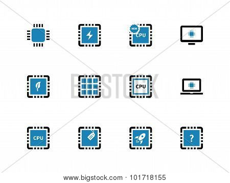 Computer microchip CPU duotone icons on white background. Vector illustration. poster