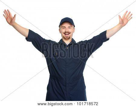 Happy car mechanic isolated on white background.