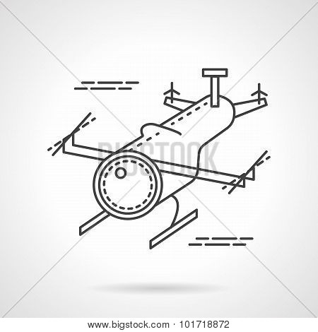 Unmanned aerial drone flying in a sky. Flat  thin line vector icon. Military robots and vehicles. Design symbols for business and website. poster