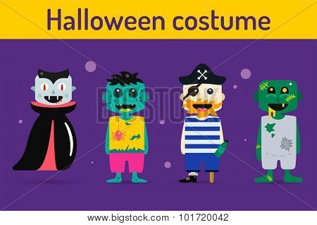 Set of halloween costume characters, vector halloween mascots. Halloween kids costume, vampire, zombie, pirate cartoon characters. Halloween characters isolated on background. Cute flat simple style