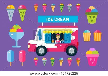 Ice cream vector truck van and ice cream icons set. Icecream isolated vectors. Candy ice cream. Tasty frozen, cartoon vector, set. Ping, red, blue, green, red ice cream. Ice cream scoops icons. Ice