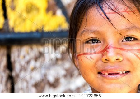 Cute Brazilian indian girl in Amazon, Brazil
