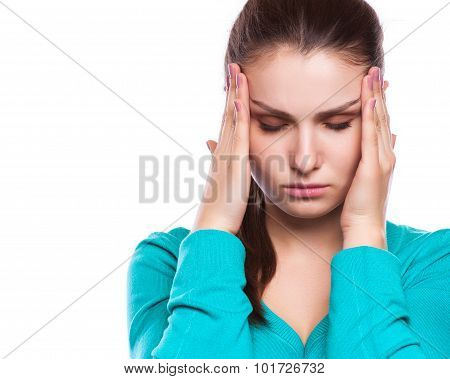 Headache. Woman having Headache. Sick. Flu. isolated poster