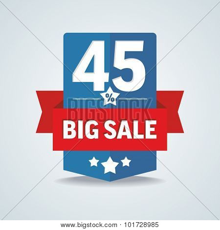 Big sale 45 percent badge with red ribbon. Vector illustration.