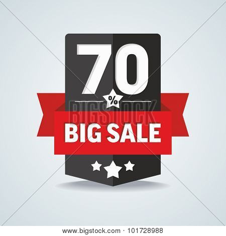 Big sale 70 percent badge with red ribbon. Vector illustration.