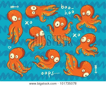 Background with octopuses in cartoon style