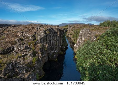Pingvellir National park, Iceland. It lies in a rift valley that marks the crest of the Mid-Atlantic Ridge poster