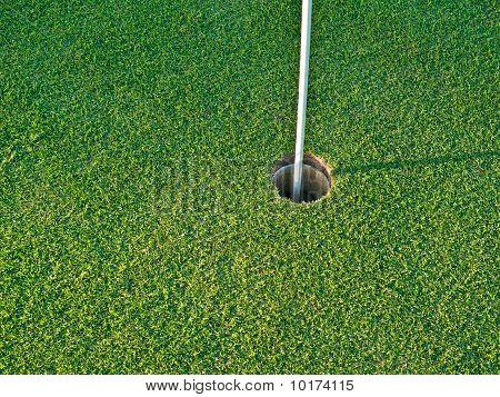 Golf Hole With Flag Pole