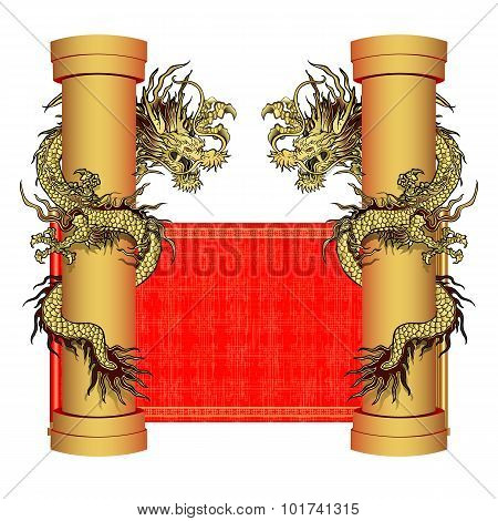 Gold Dragon On A Pole On The Background Of Oriental Scroll 2