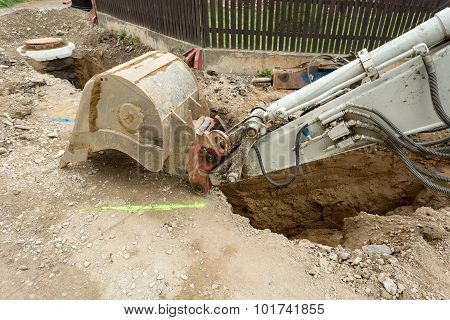Excavator Ploughshare On Trench - Constructing Canalization