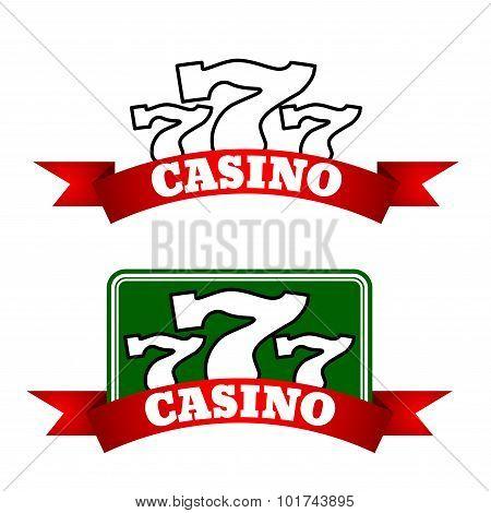 Jackpot casino icon with winning triple seven