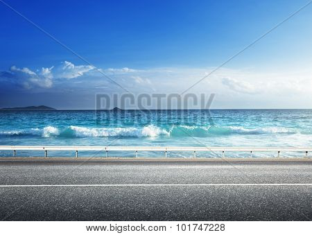 road on tropical beach