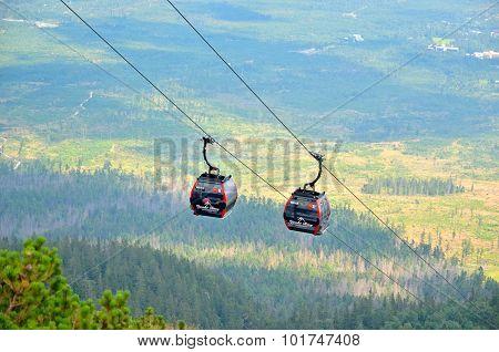 Ropeway from Tatranska Lomnica to Skalnate Pleso, Slovakia.