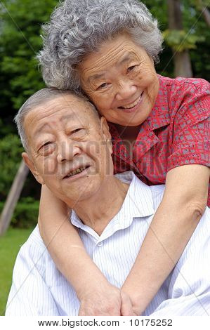 An Intimate Senior Couples Embraced