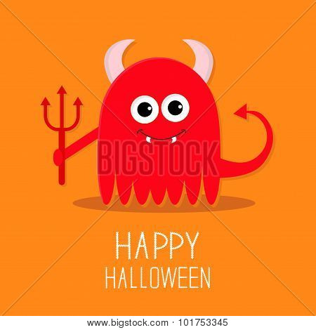 Cute Red Evil Monster With Horns, Fangs And Trident. Happy Halloween Card. Flat Design Orange Backgr