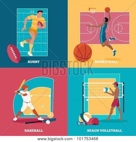 Set of Team Active Sports with Ball