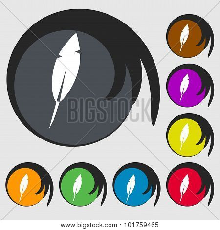 Feather Sign Icon. Retro Pen Symbo. Symbols On Eight Colored Buttons. Vector