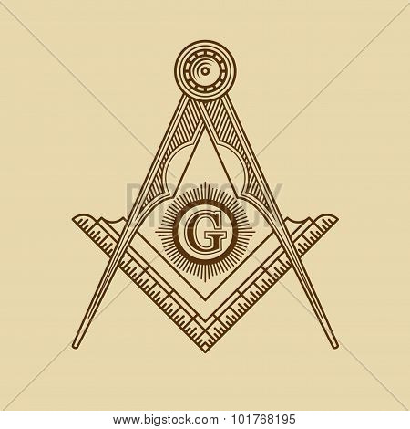 Masonic Freemasonry Emblem Icon Logo. Vector