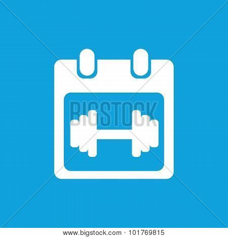 Weightlifting schedule icon, simple white image isolated on blue background poster