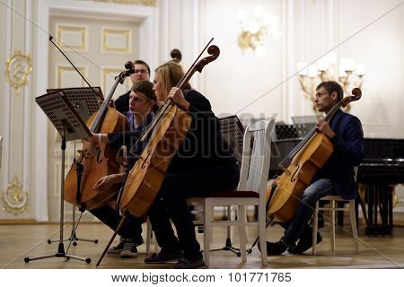 ST. PETERSBURG, RUSSIA - SEPTEMBER 7, 2015: Musicians of the symphonic orchestra Nevsky on the rehearsal during the International festival of French horn. The hornfest is held 3rd time