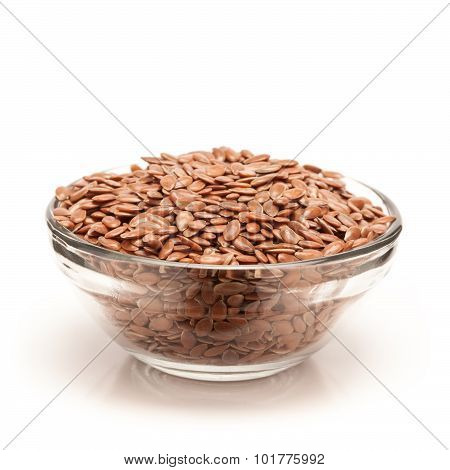 Organic Flaxseed in bowl front view.