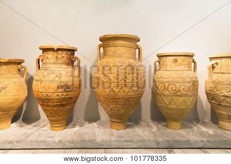 Ceramic Vessels In Heraklion Archaeological Museum At Crete, Greece