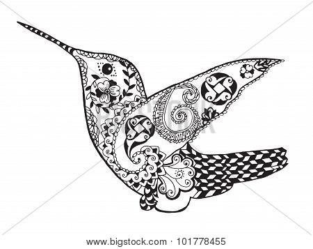 Zentangle stylized hummingbird. Sketch for tattoo or t-shirt.