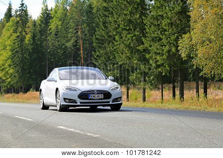 Tesla Model S Electric Car On The Road