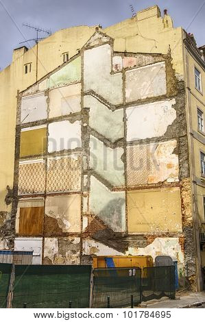 Outline Of Old Building During Demolition