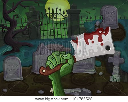 Cemetery with zombie hand. Vector illustration