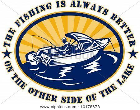 fisherman on fishing boat rod