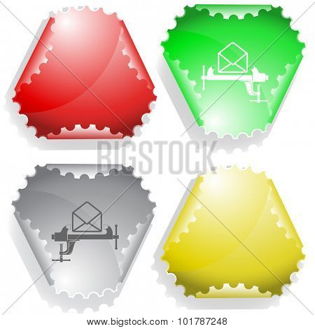 open mail with clamp. Vector sticker.
