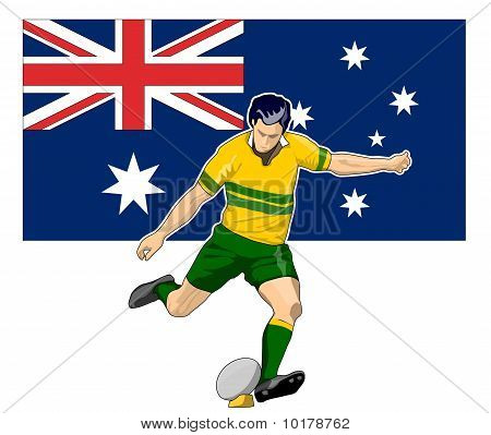 illustration of Rugby player kicking ball front view with Australia flag in background poster