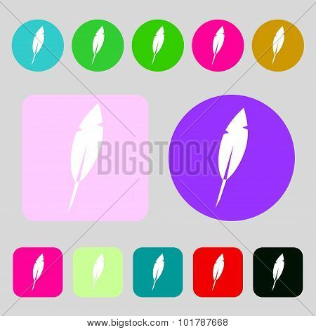 Feather Sign Icon. Retro Pen Symbo. 12 Colored Buttons. Flat Design. Vector