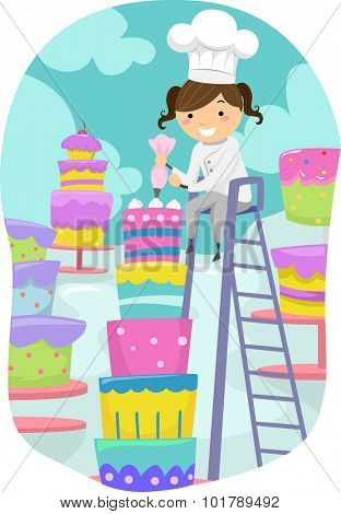 Stickman Illustration of a Little Girl Dressed as a Baker Putting Icing on a Cake