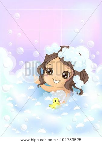 Illustration of a Little Girl Playing with Bubbles and a Rubber Duckie While She Bathes - eps10