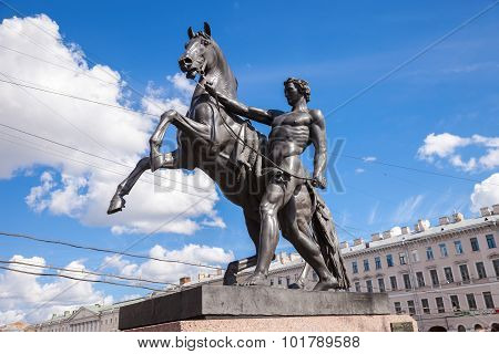 Sculpture Tamer Of Horses, Designed By The Russian Sculptor Baron Peter Klodt.  Anichkov Bridge, St.