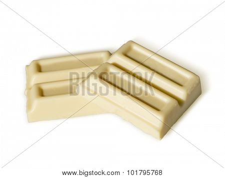 white chocolate isolated on white background. Path included