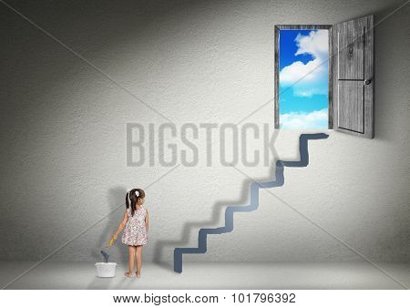 Conquer Concept, Child Girl Draws Stairs For The Exit