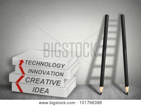 Books Creative, Idea, Tecnology, Innovation And Ladder From Pencils, Management Concept