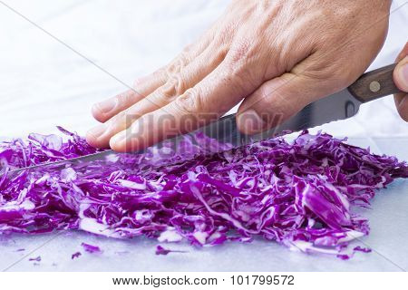 Closeup Cutting Red Cabbage