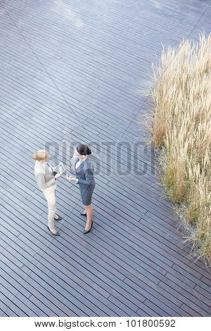 High angle view of businesswomen discussing on floorboard
