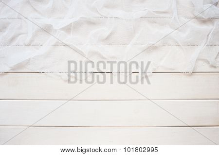 White Wooden Background With Cheesecloth